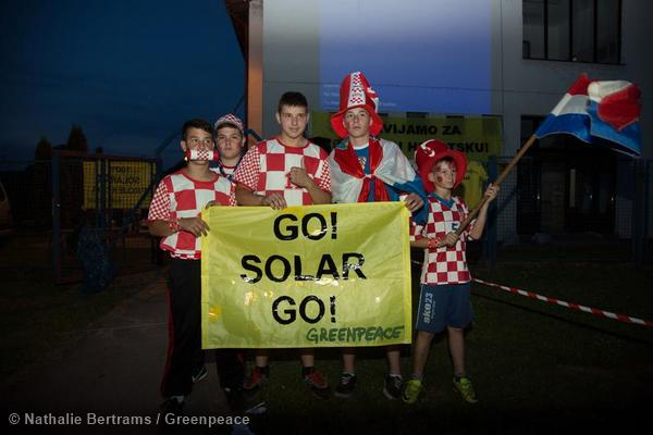 Solar Powered Screening Of World Cup Game in Croatia