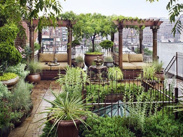 Rooftop garden in Chelsea, New York City, USA
