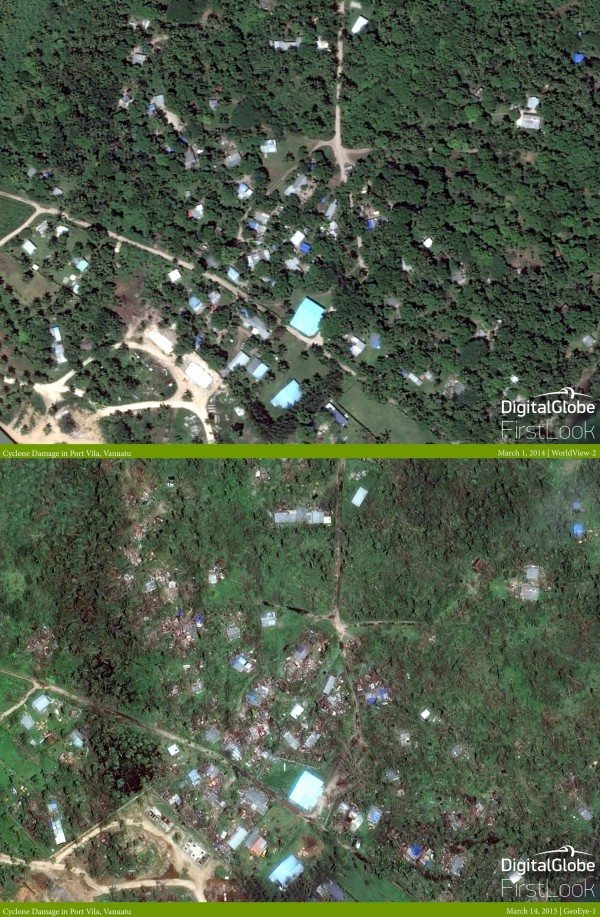 Cyclone Pam: Before and after images of the destruction