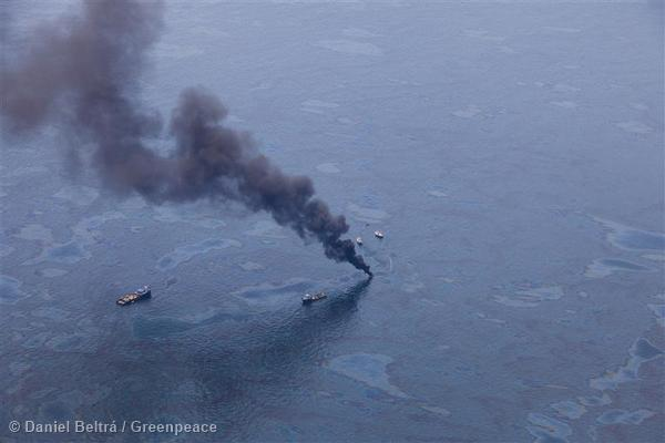 Burning Oil from Oil Rig Disaster