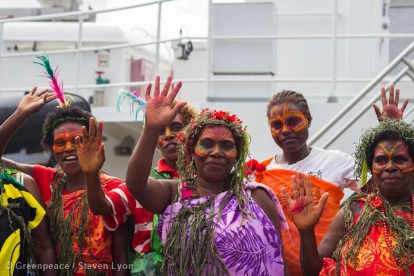 Local Population Greets the Rainbow Warrior in Vanuatu