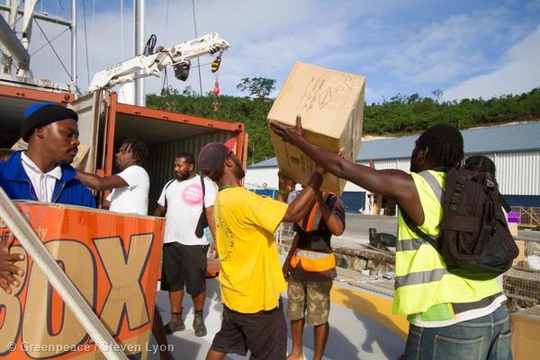 Unloading Supplies from Rainbow Warrior in Vanuatu