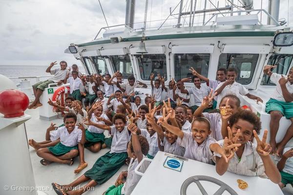 School Group Tours the Rainbow Warrior in Vanuatu
