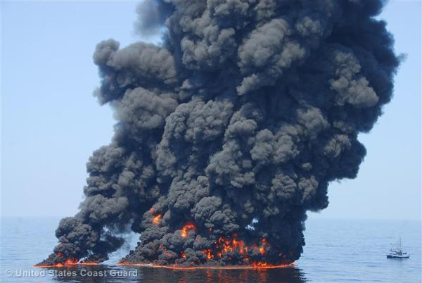 A controlled burn of oil from the BP Deepwater Horizon/ oil spill sends towers of fire hundreds of feet into the air over the Gulf of Mexico.