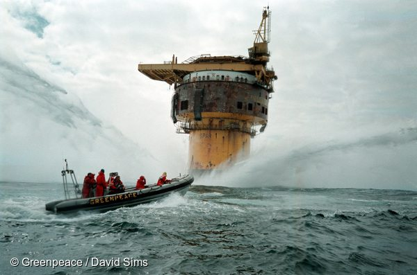 Action at Brent Spar Oil Rig in the North Sea