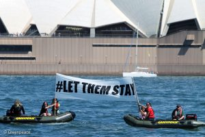Sydney Harbour Action in Support of #LetThemStay Campaign