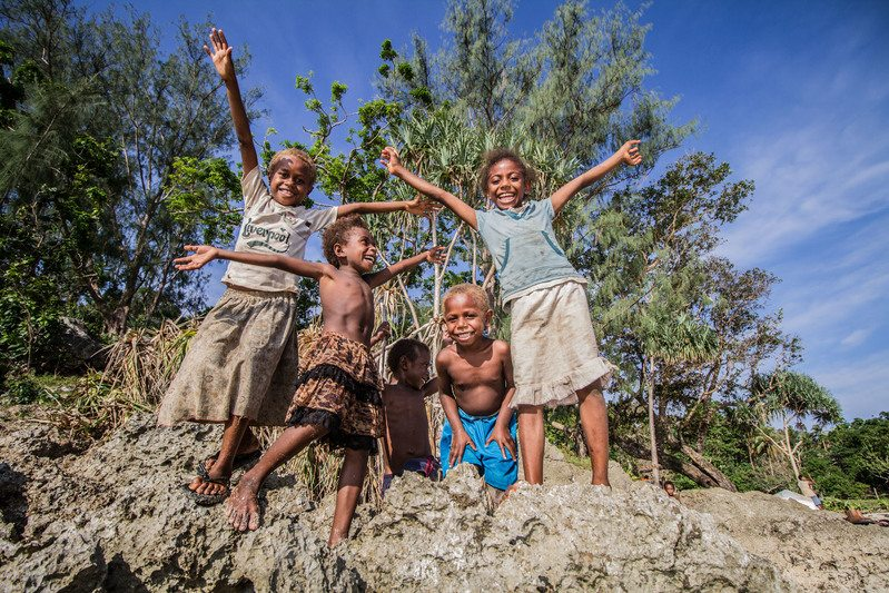 Pacific Islander children from Point Cross Village in Vanuatu