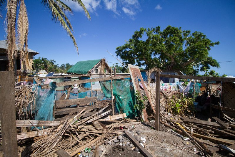 One of many buildings on Tanna Island destroyed by Cyclone Pam. Tanna Island is one of the outer Islands of Vanuatu and was hit by Cyclone Pam in March 2015. Greenpeace is in Vanuatu to help deliver relief to outlying islands. After Cyclone Pam devastated Vanuatu,