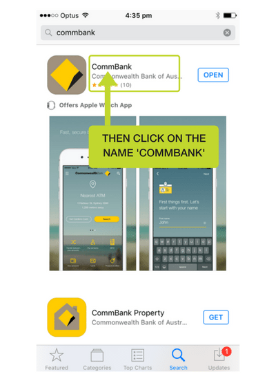 Step 4: Click on the name CommBank to open the review section