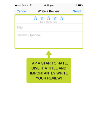 Step 6: Now you can write your review. Click on the number of stars you want to give it, and importantly write the reason why you're given it the review.