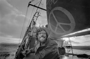 Lyle Thurston, ship doctor on the first Greenpeace voyage, departing Vancouver in 1971, to halt nuclear tests in Amchitka Island.