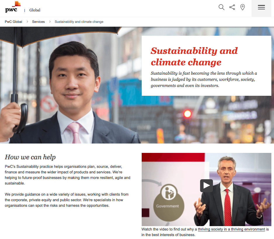 The PwC website with comments on their environmental policy