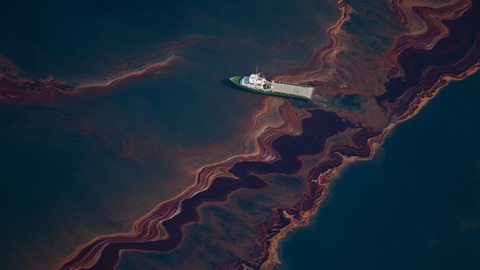 Ship at site of oil spill