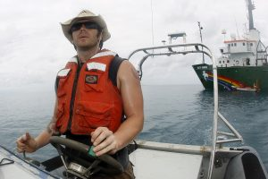 Greenpeace actions co-ordinator Shannon lo Ricco on a research expedition in the Gulf of Mexico