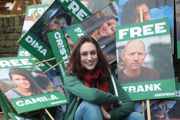 Alex Harris outside Greenpeace office in London.