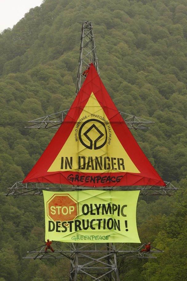 © Vadim Kantor. Greenpeace activists in the Mzymta Valley, 2008
