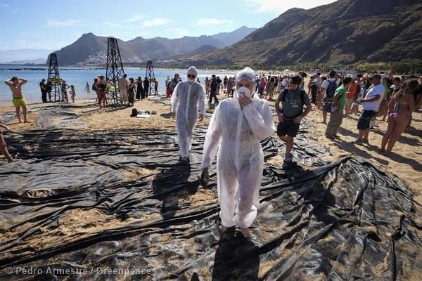 Simulated Oil Spill at Tenerife's Beach Las Teresitas