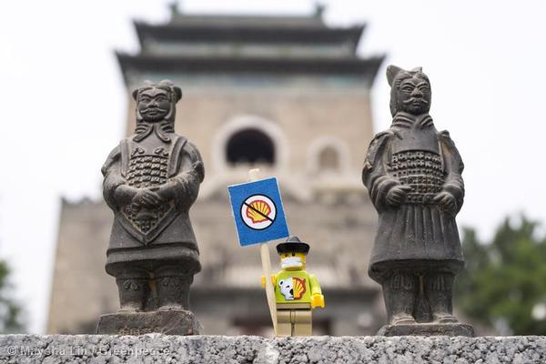 Greenpeace creates a protest scene with LEGO figures at the Bell Tower in Beijing.