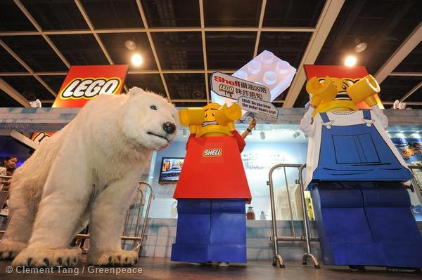 Greenpeace activists, dressed as a polar bear and LEGO mini figures, protested at the LEGO booth in the annual Ani-Com and Games Fair in Hong Kong.
