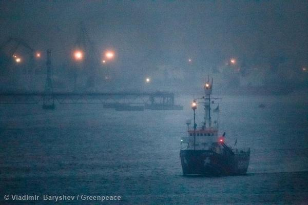 The Greenpeace ship Arctic Sunrise departs from Murmansk, Russia.