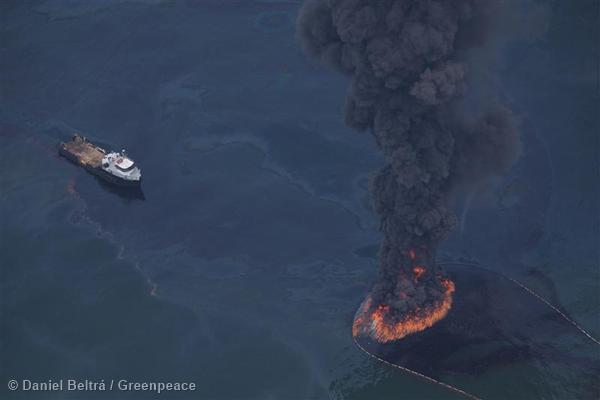 Burning Oil from Oil Rig Disaster