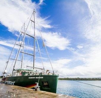 The Rainbow Warrior arrives in Port Vila, Vanuatu.
