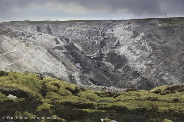 The Muli opencast coal mine, operated by the Kingho group, close to the Chi-Lien Mountains. A Greenpeace investigation revealed the presence of a giant coal mine illegally encroaching on a nature reserve at the source of the Yellow River. The sprawling mining operation, covering an area 14 times larger than the City of London, at an altitude of over 4,000m, was documented in detail for the first time by Greenpeace East Asia.