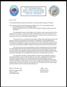 Coral Reef Symposium Letter