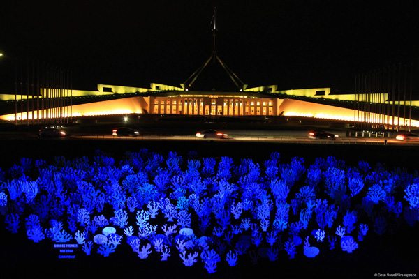The Great Barrier Reef glowed in the dark on the lawn of Parliament House.