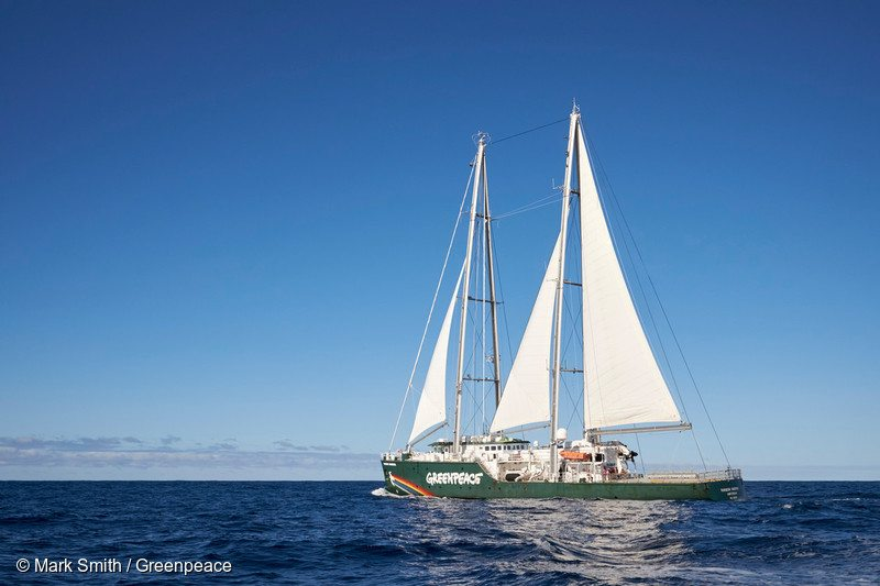 Rainbow Warrior in the Pacific Ocean