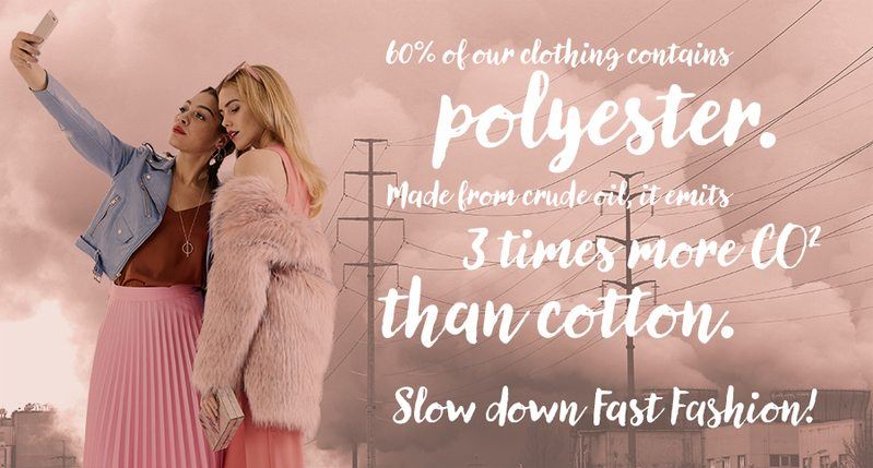 Illustration depicting models wearing polyester clothes superimposed over textile production facilities. As part of the campaign to reduce overconsumption, the Detox My Fashion campaign has produced a set of infographics and illustrations for Buy Nothing Day.