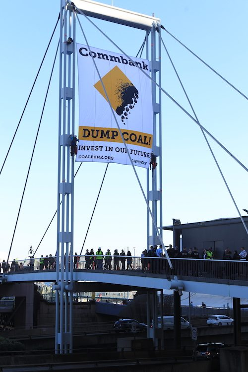 The banner stayed up for 6 hours until Police Rescue pulled it down.