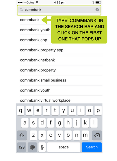 Step 2: Type CommBank into the search bar and click on the first CommBank app that pops up