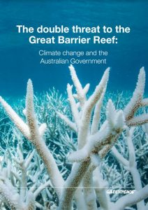 Cover of the new report: The Double Threat to the Great Barrier Reef