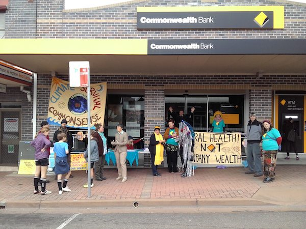 Talking to the public about CommBank's funding of fossil fuels.