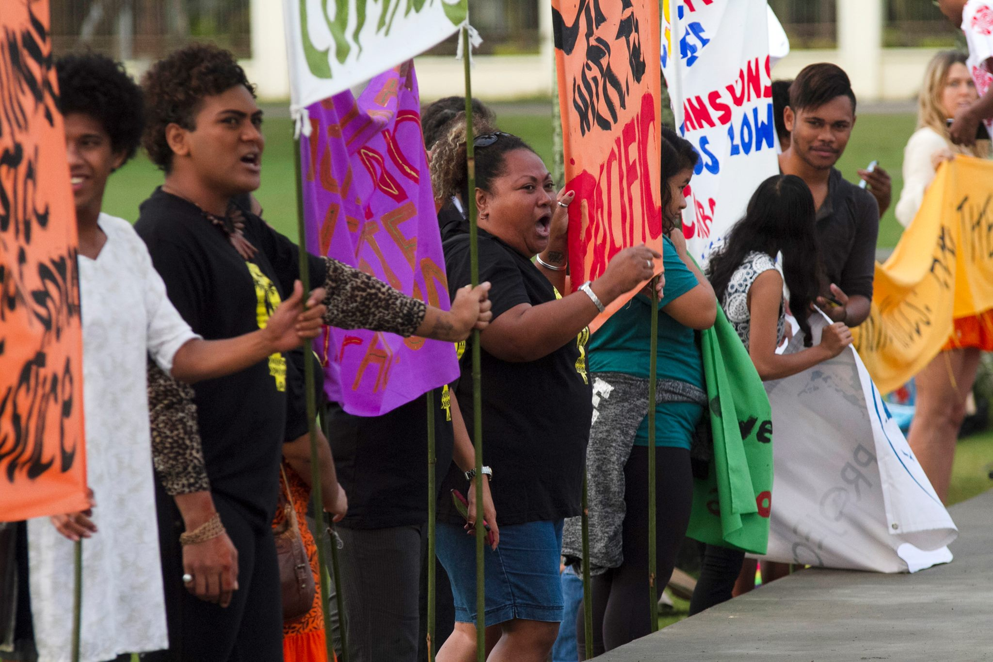 Activists in Albert Park Suva July 3rd before Climate Action Pacific Partnerships conference