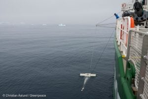 Microplastic sampling in Antarctic waters from aboard the Arctic Sunrise.