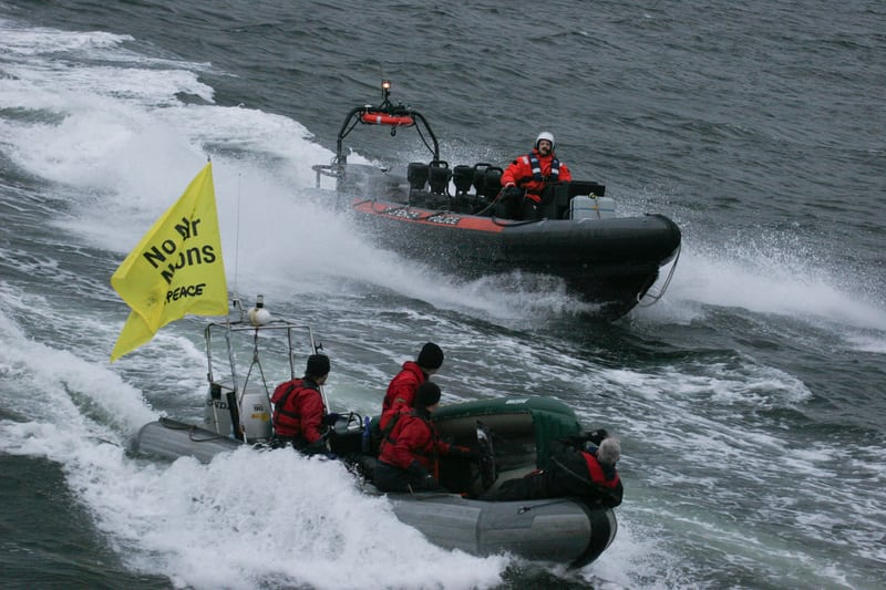 Greenpeace activists blockade the trident nuclear submarine base at Faslane, Scotland (2007).