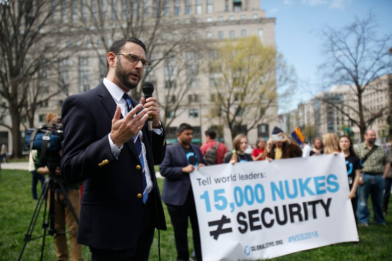 Protesters come together during the Nuclear Security Summit in Washington DC to call to eliminate the 15,000 nuclear weapons in the world today (2016).