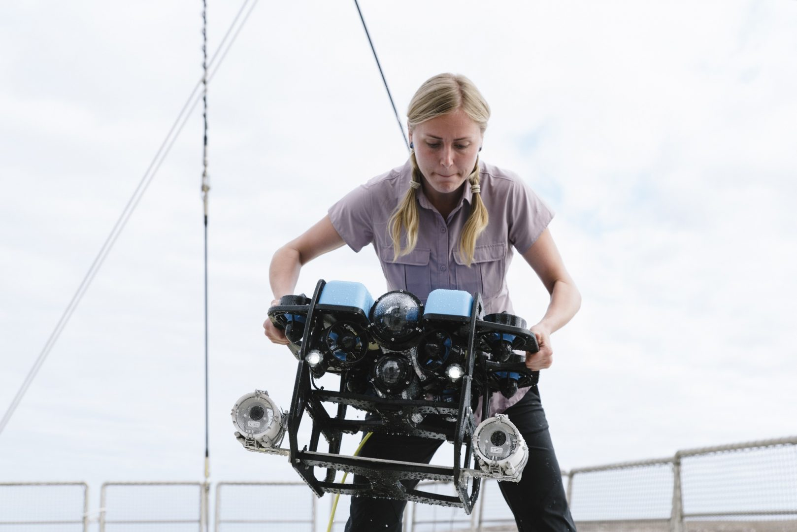 PHD student Darryn Sword prepares to lift the ROV into the water from the Rainbow Warrior III in the waters of The Great Australian Bight.