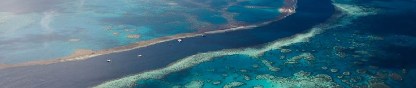 Aerial view of the Great Barrier Reef in Australia.