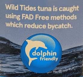 dolphin friendly label on a tuna can