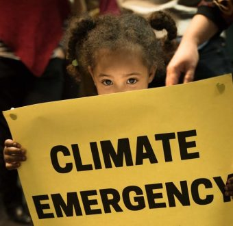 Small girl hold banner saying climate emergency