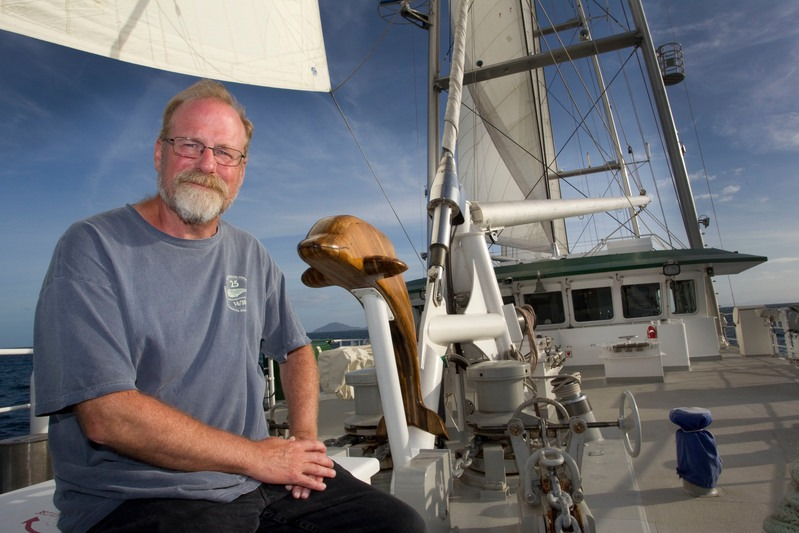 Steve Sawyer, a crew member of the original Rainbow Warrior which was bombed by French secret service agents in 1985 in Auckland, aboard the new Rainbow Warrior during the ship's first visit to New Zealand.