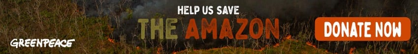 banner saying help us save the amazon