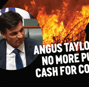 Angus Taylor on a background of bushfire