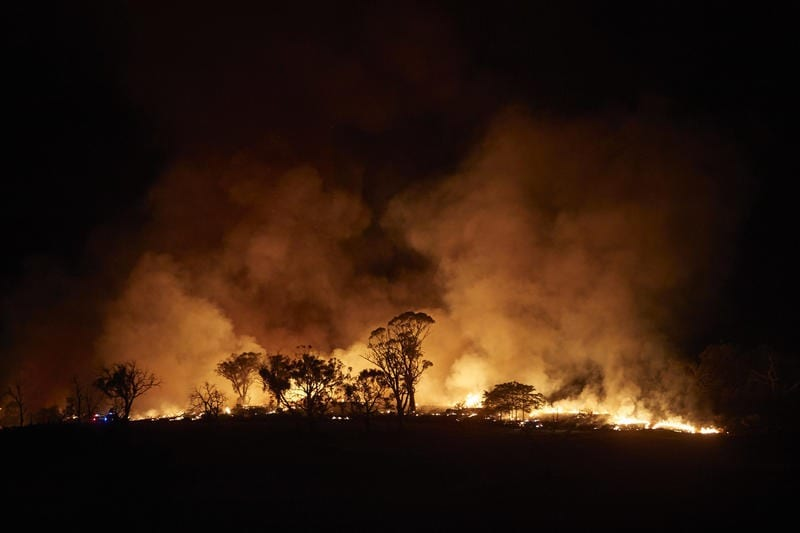 The New South Wales 'Mega' fire burns on the outskirts of the small town of Tumbarumba