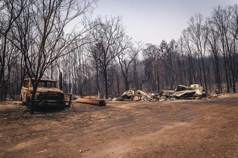Aftermath of the bushfires that devastated the small community of Nymboida, south of Grafton in NSW.