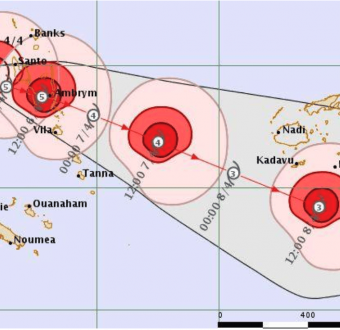 Meteorological map of Cyclone Harold